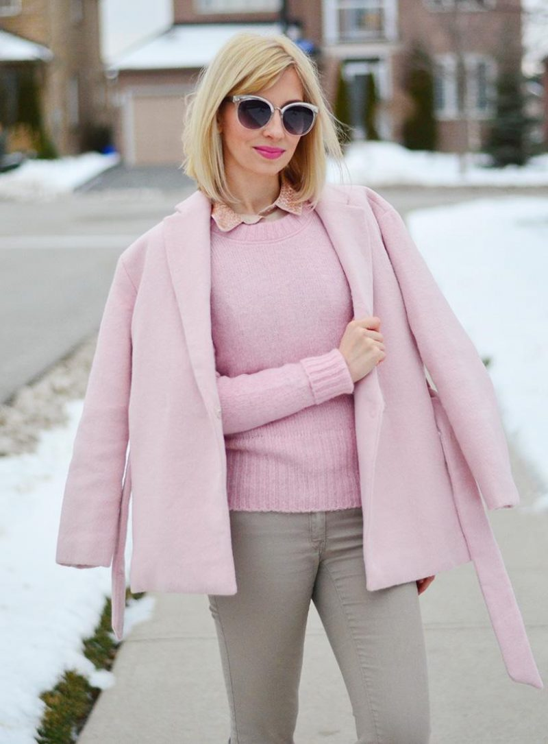 Light Amp Soft In Wool Wrap Dusty Pink Coat Stripes And Vibes