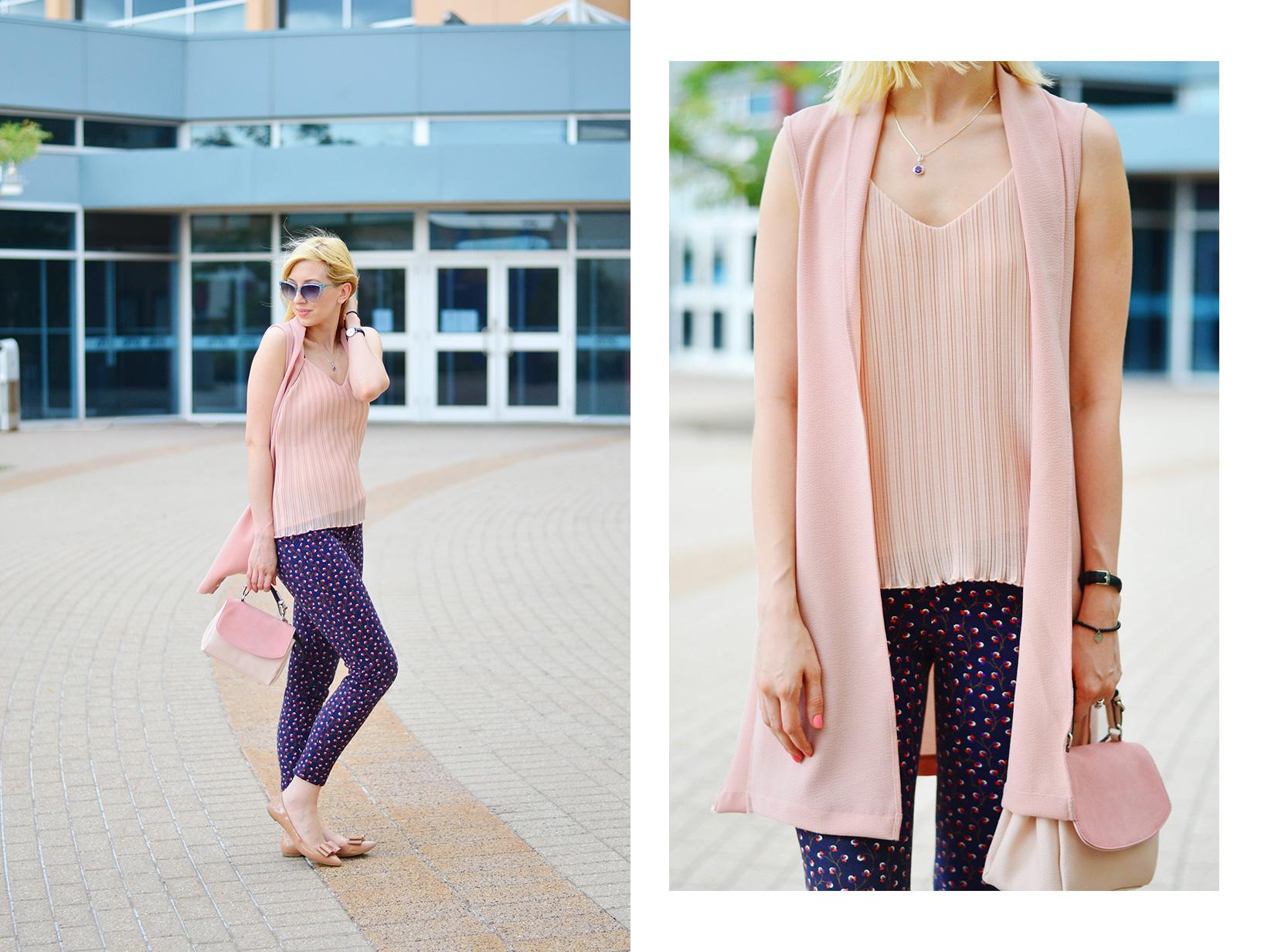 dusty pink long vest and oldnavy printed pants style 1