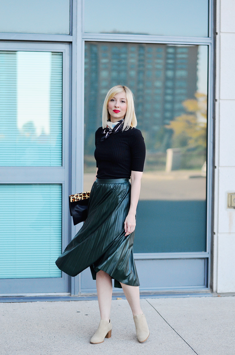 leather effect midi skirt 1