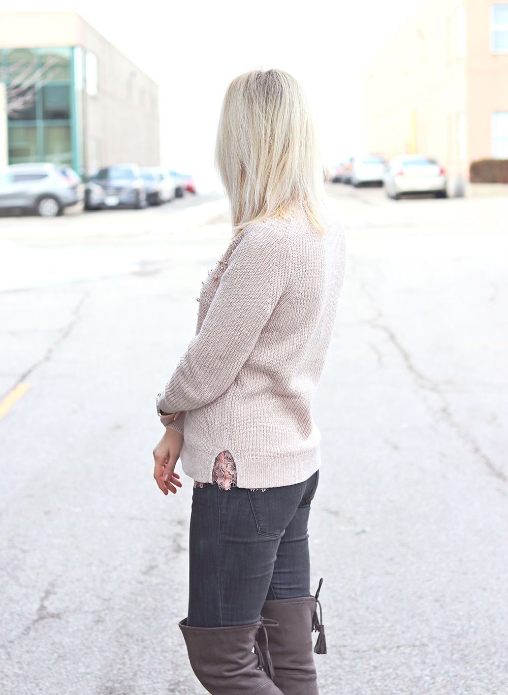 knitted sweater and lace top