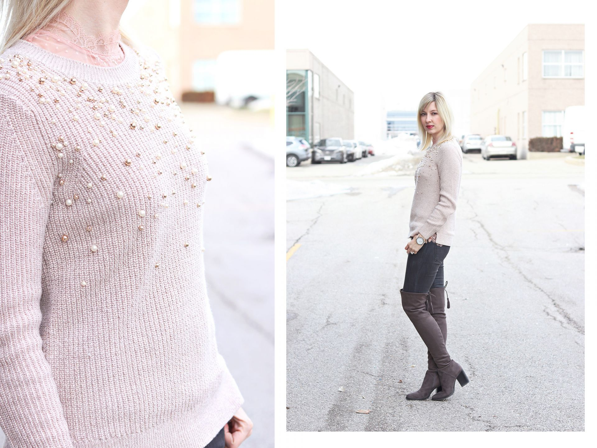 embellished sweater and lace top