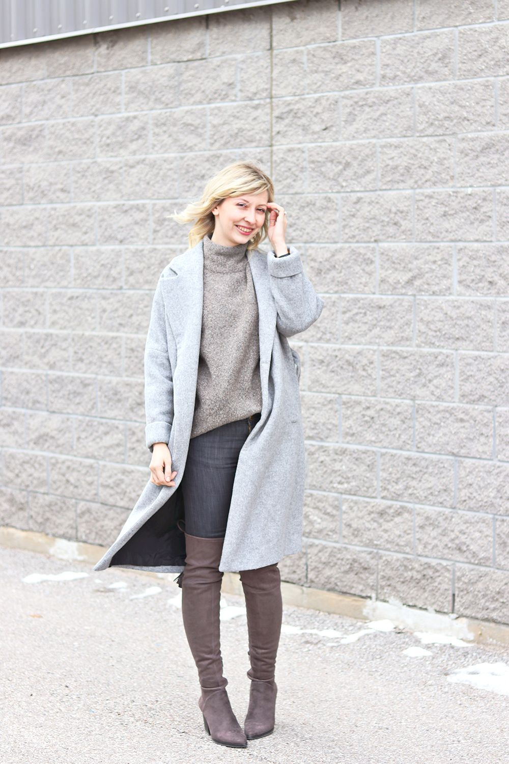 oversized coat and sweater