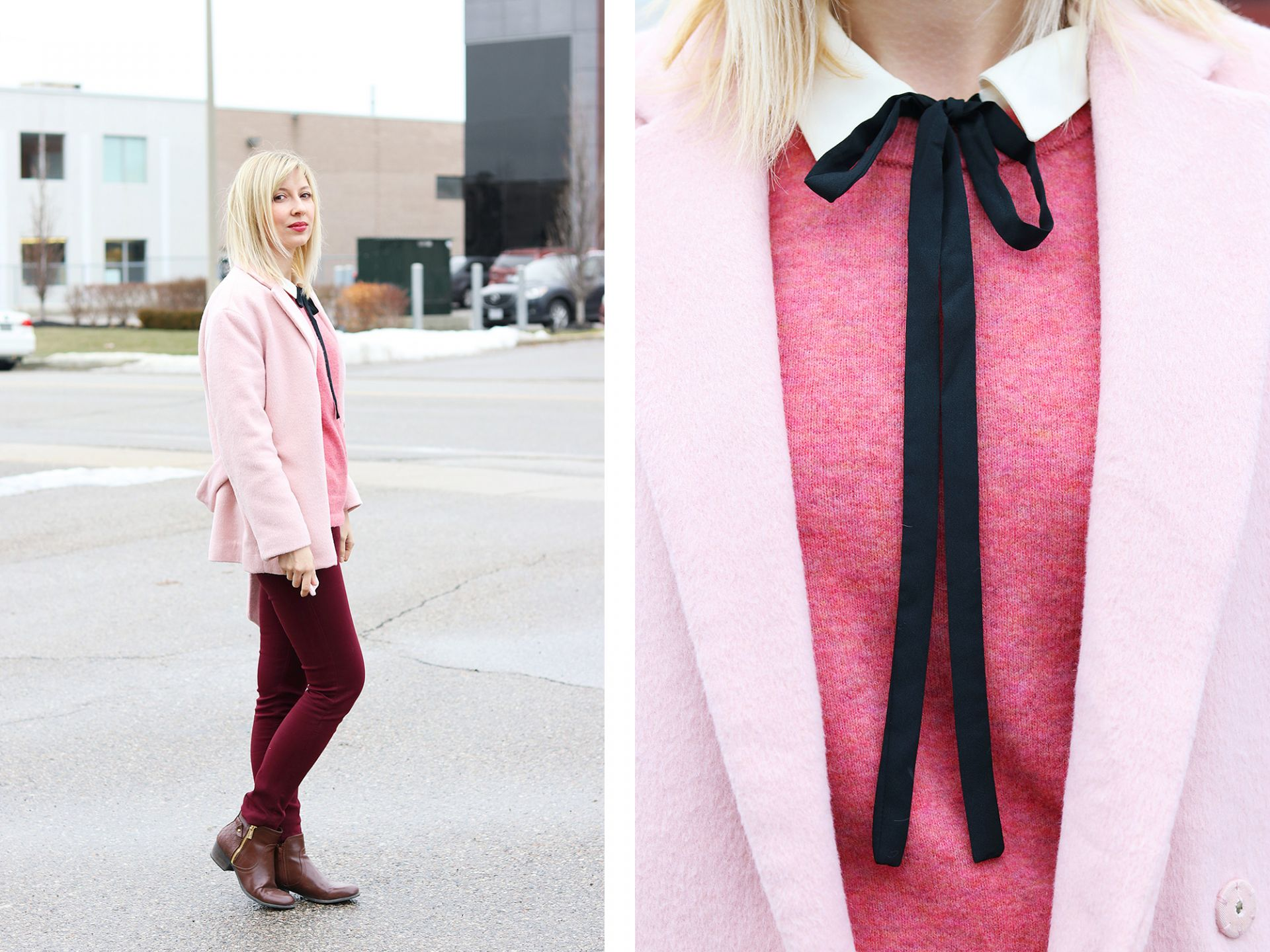 pink and bow tie work wear
