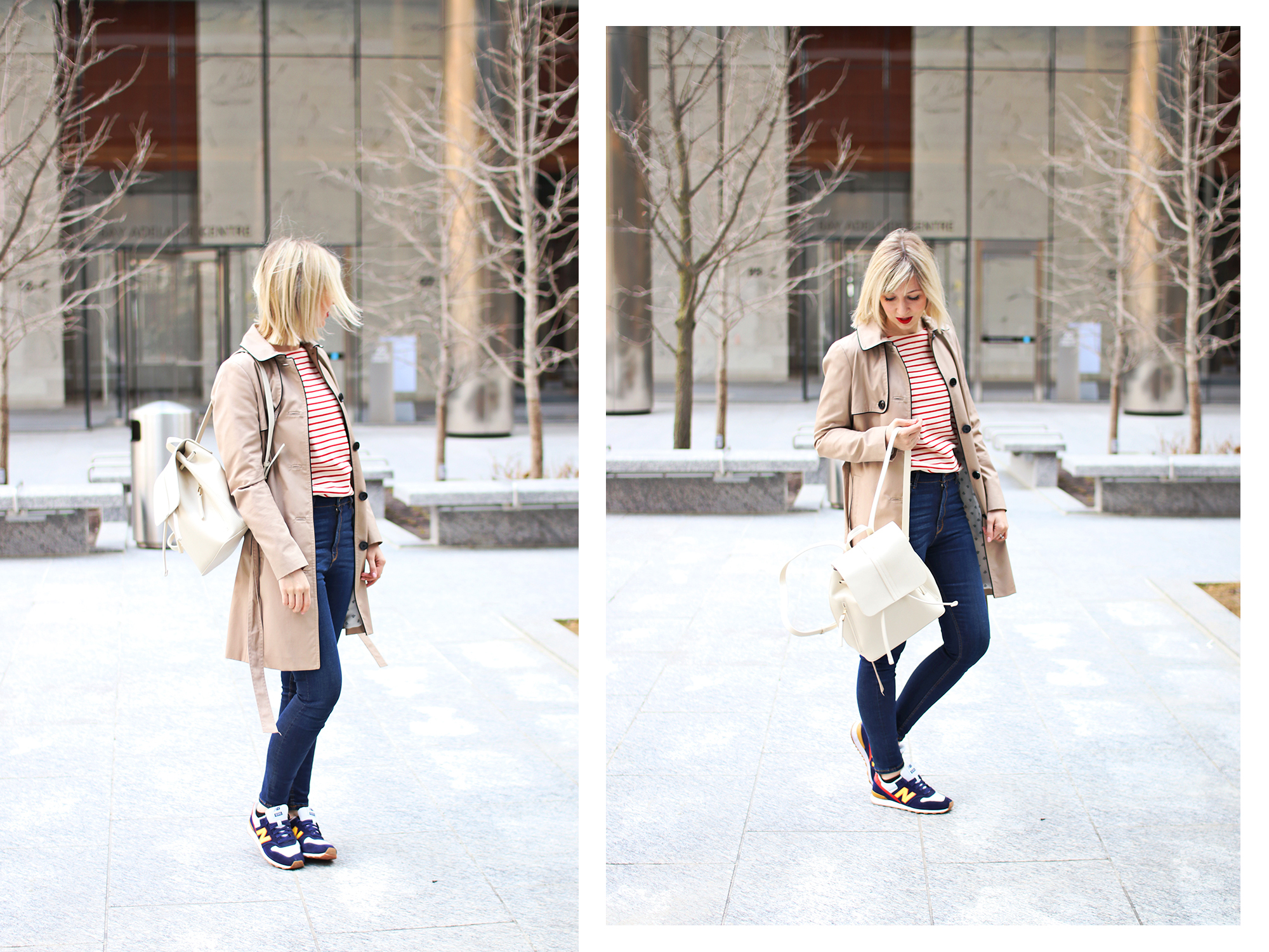 trench coat and stripe top