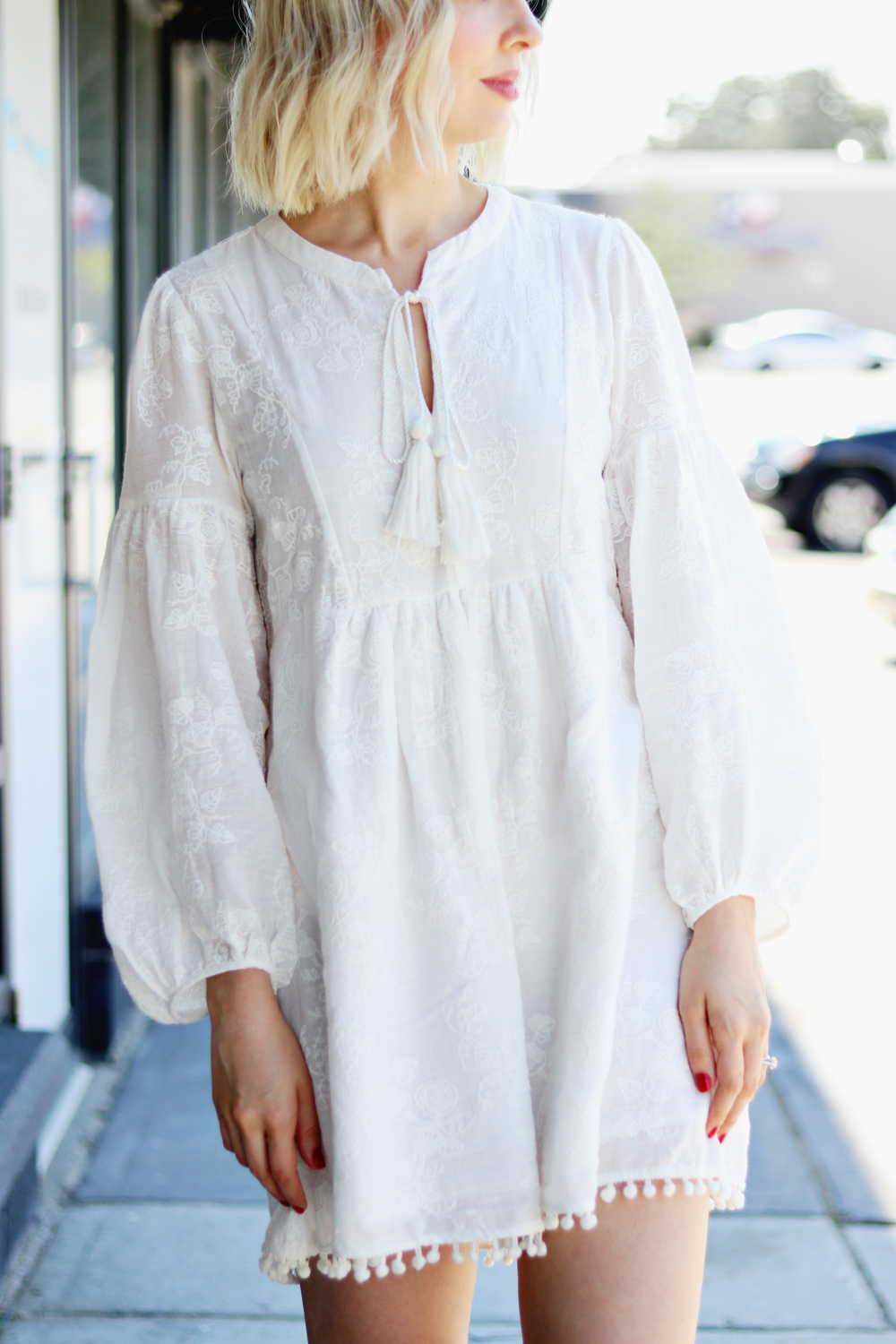 embroidered white cotton tunic dress