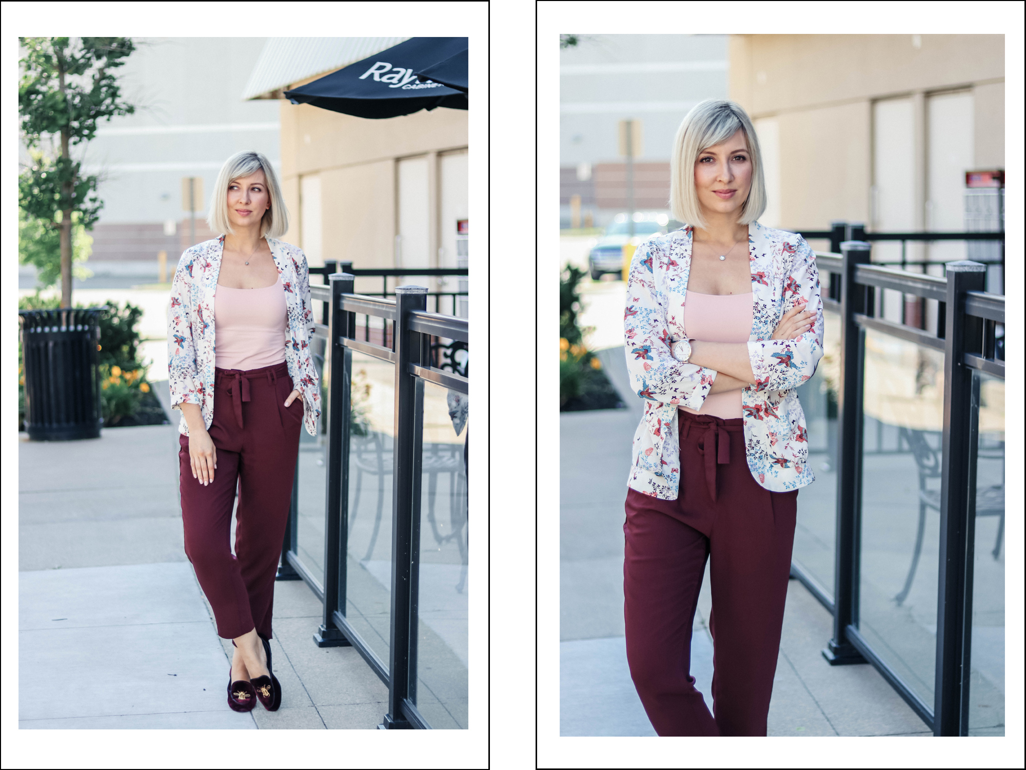 burgundy pants casual style