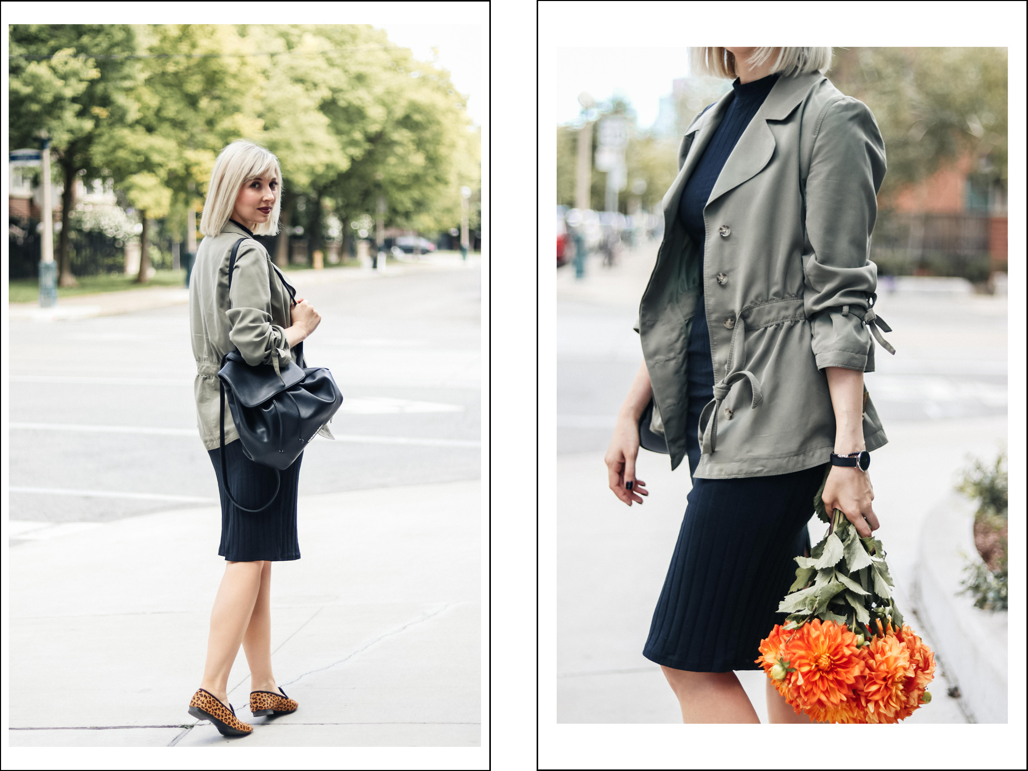 Styling Fitted Dress with Khaki & Leopard 4