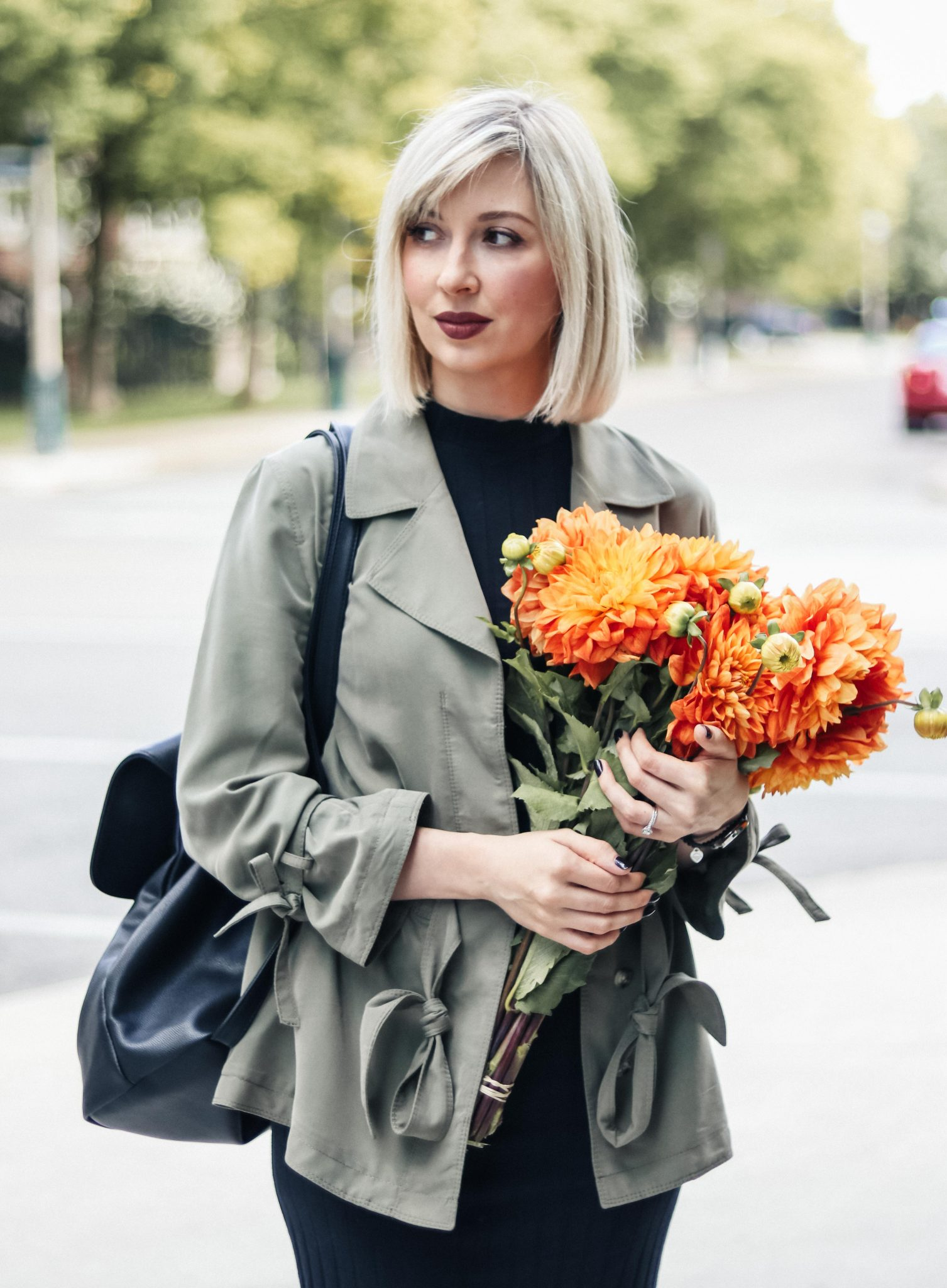 fitted dress, khaki top and flowers