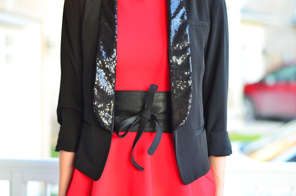 Sequin Blazer Amp Red Dress Christmas Party Outfit Ideas