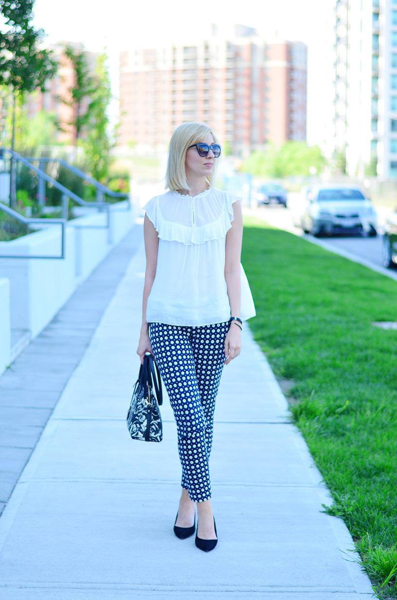 printed pants and frill top 1