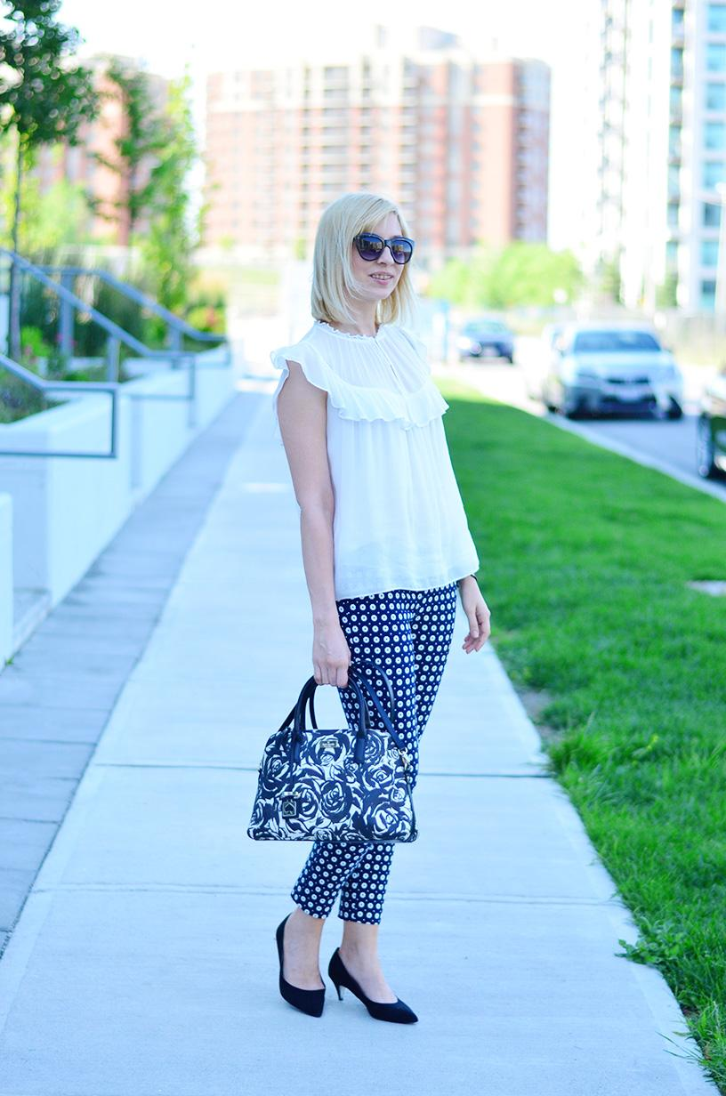 printed pants and frill top 2