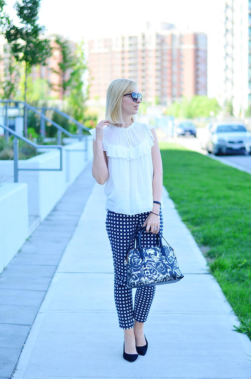 printed pants and frill top 3