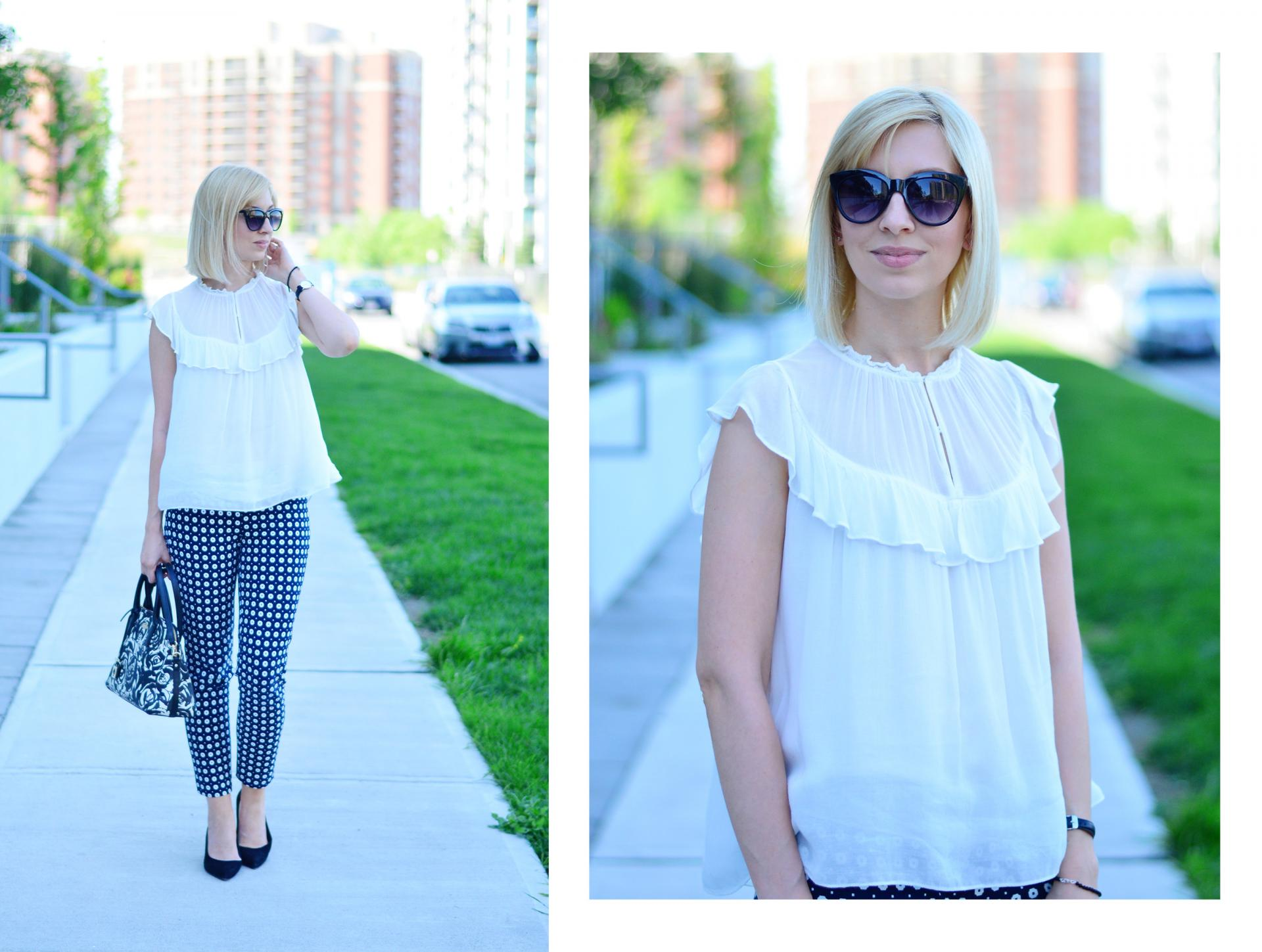 printed pants and frill top 7