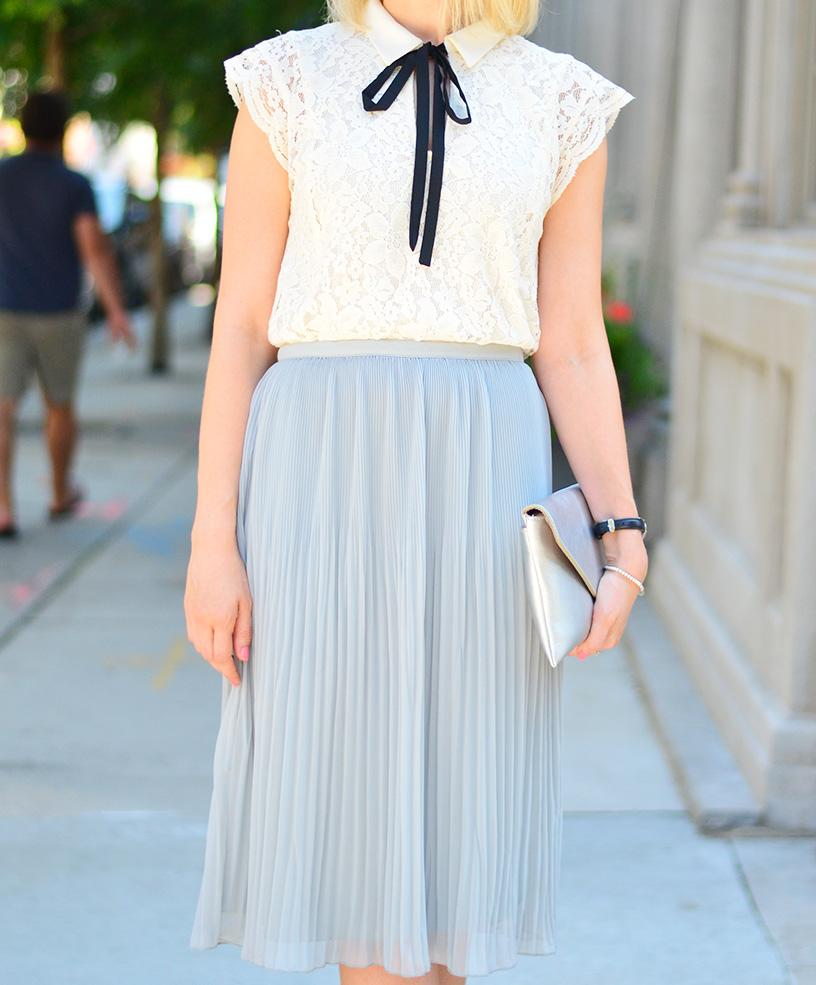 zara pleated skirt banana republic lace top 2