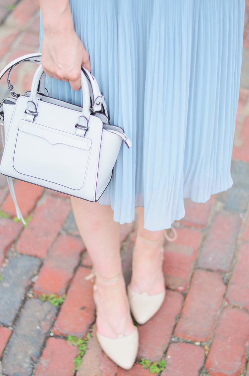 zara pleated skirt and rebecca minkoff tote