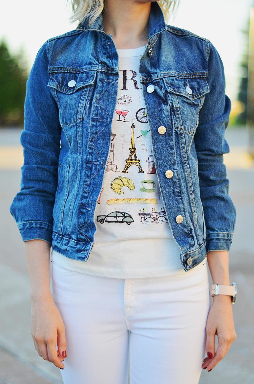 denim jacket white pants style