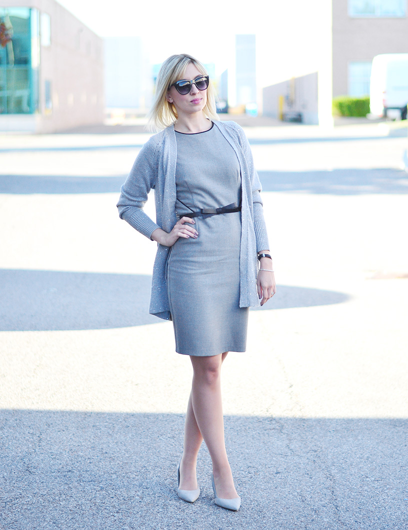 grey dress knitted cardigan 2