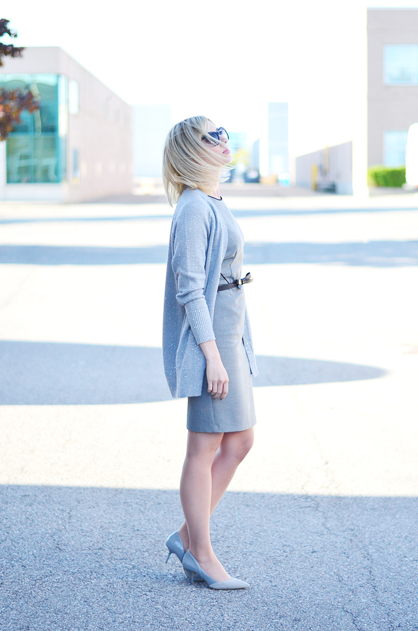 grey dress knitted cardigan 1
