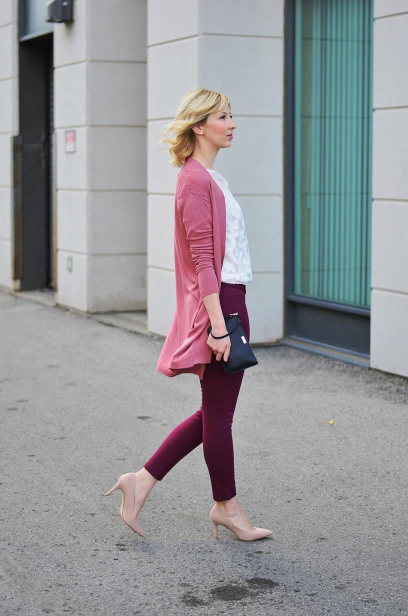 lace top mauve cardigan