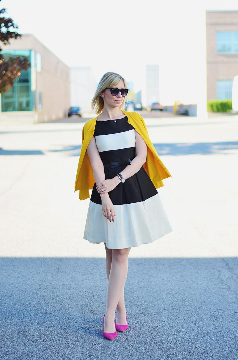 stripe dress summer to fall transition