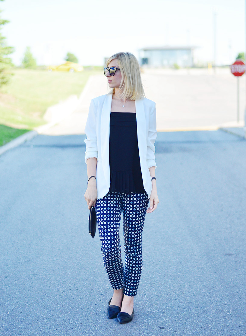 frilled top white blazer for fall