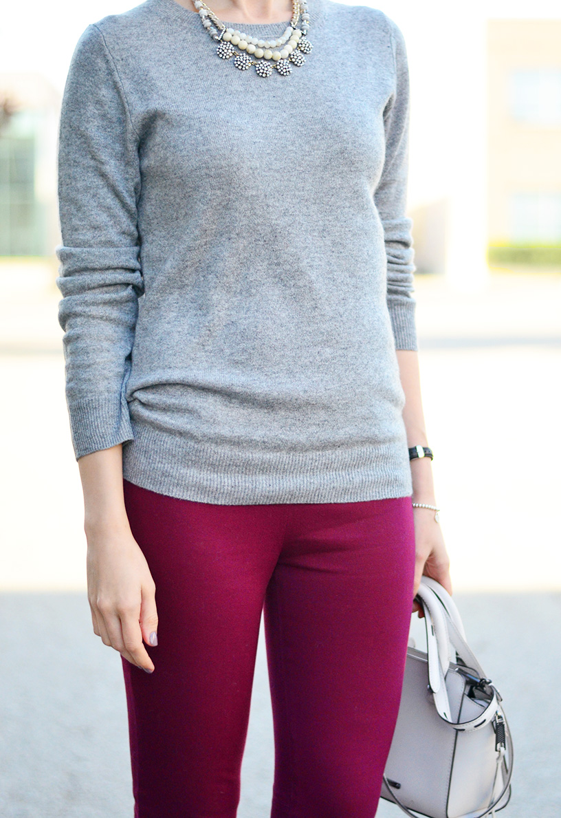 cashmere sweater and burgundy pants