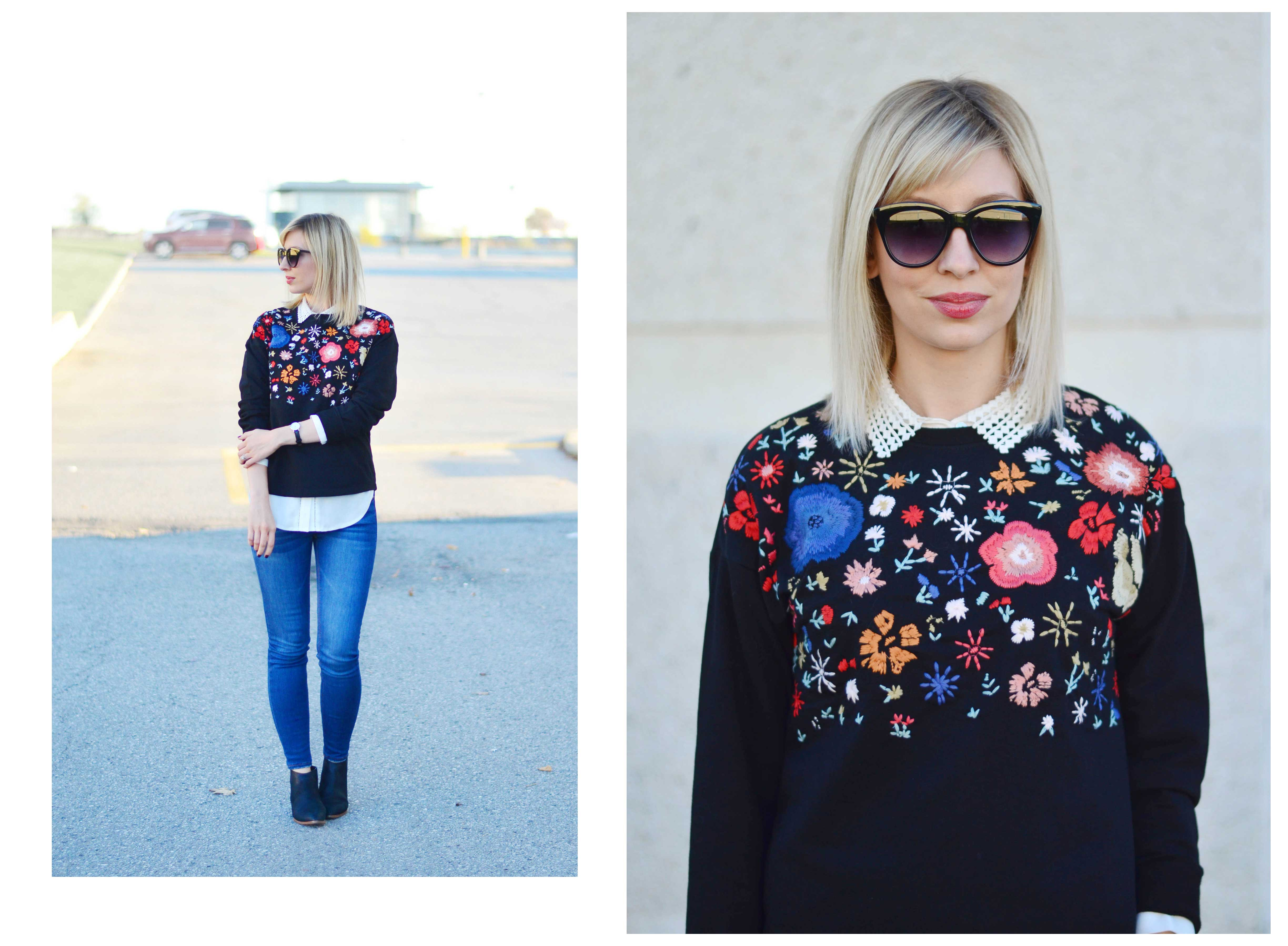 floral embroidery sweatshirt style 1
