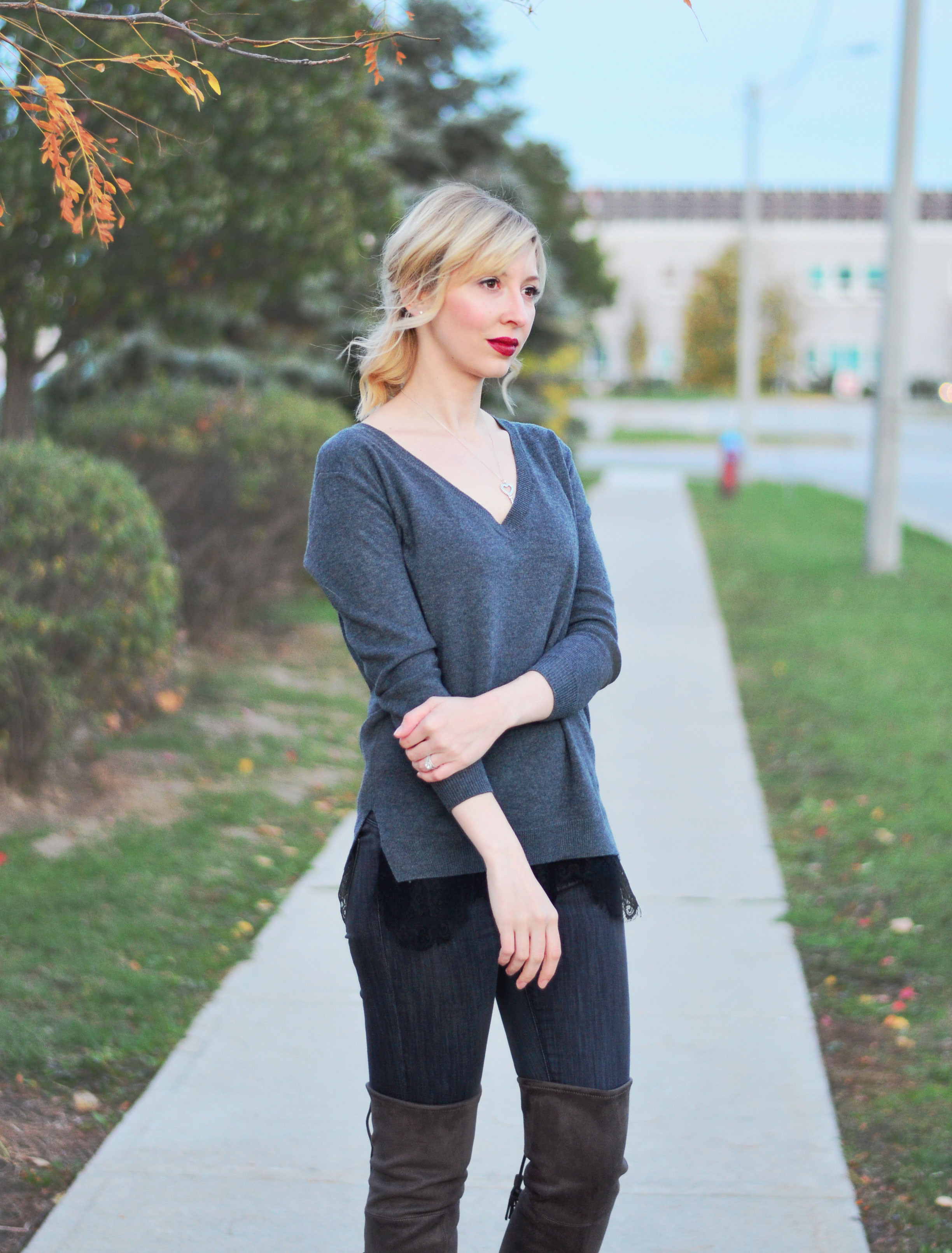 lace hem top for fall style