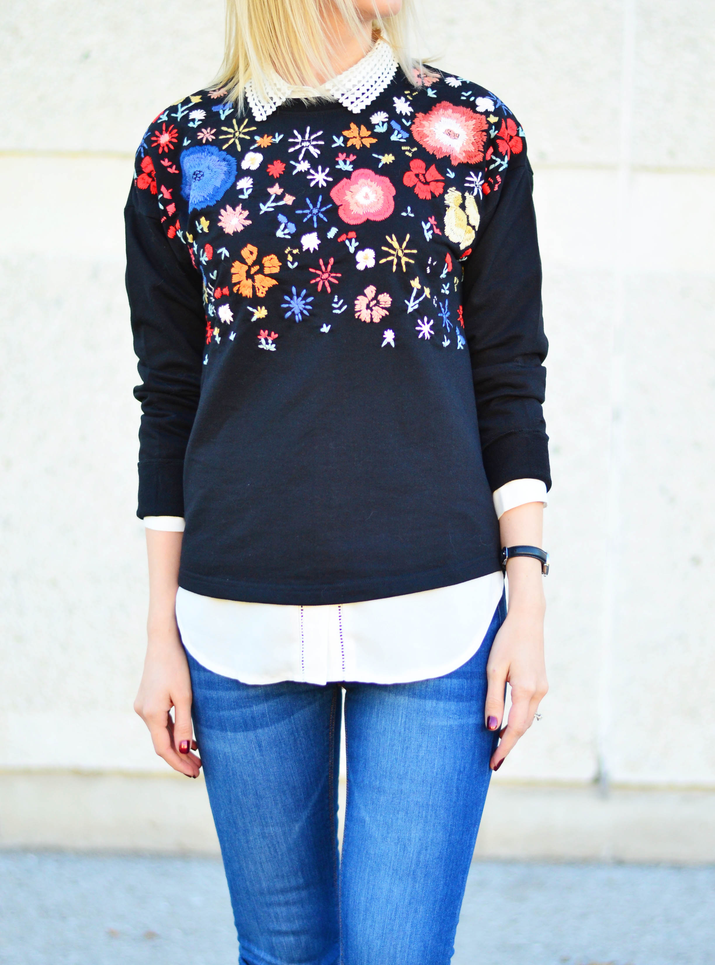 floral embroidery sweatshirt style