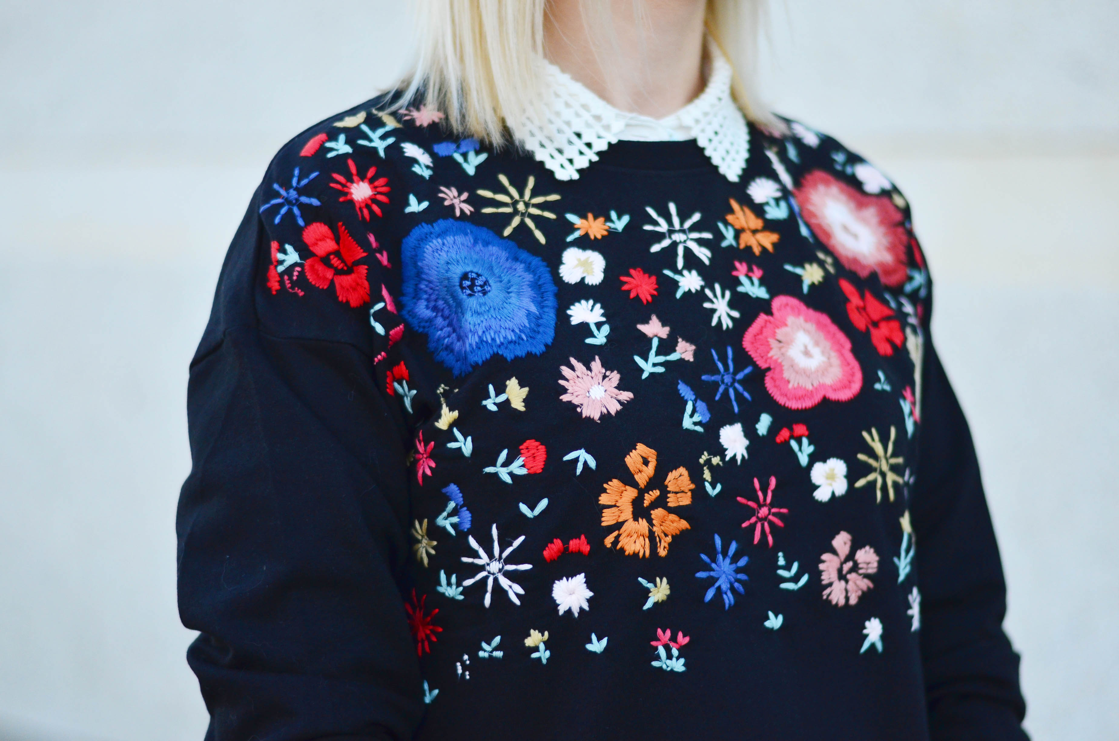 floral embroidery mango sweatshirt