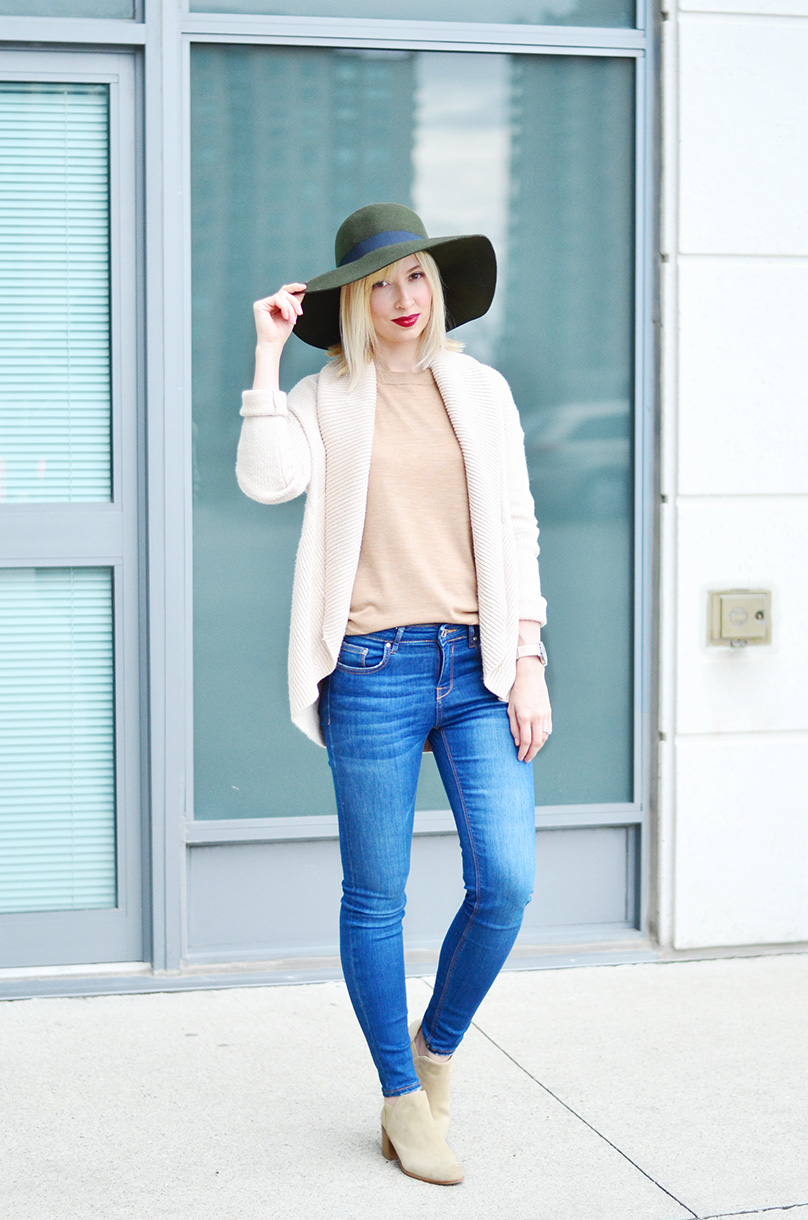 joe fresh wool hat & knitted cardigan