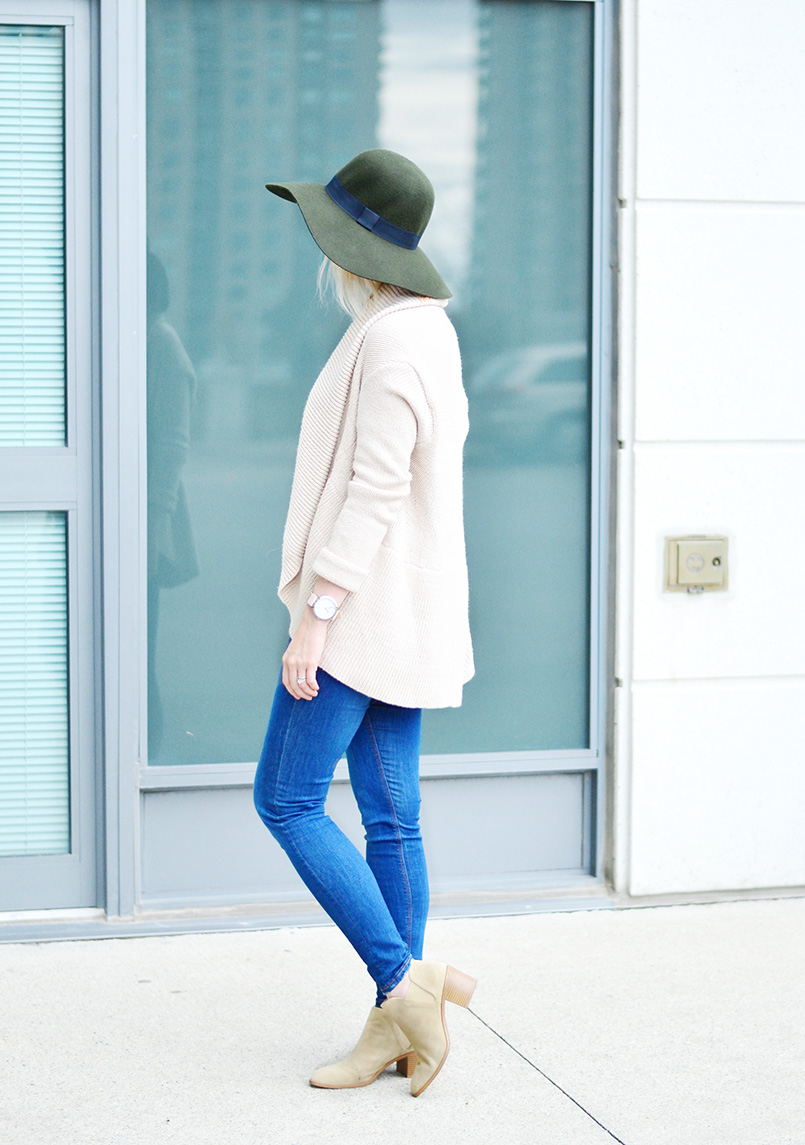 wool hat & knitted cardigan style 2
