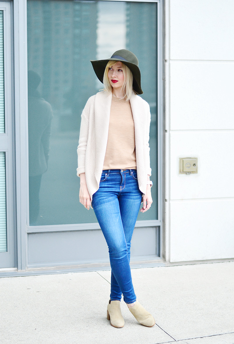 wool hat & knitted cardigan style 3