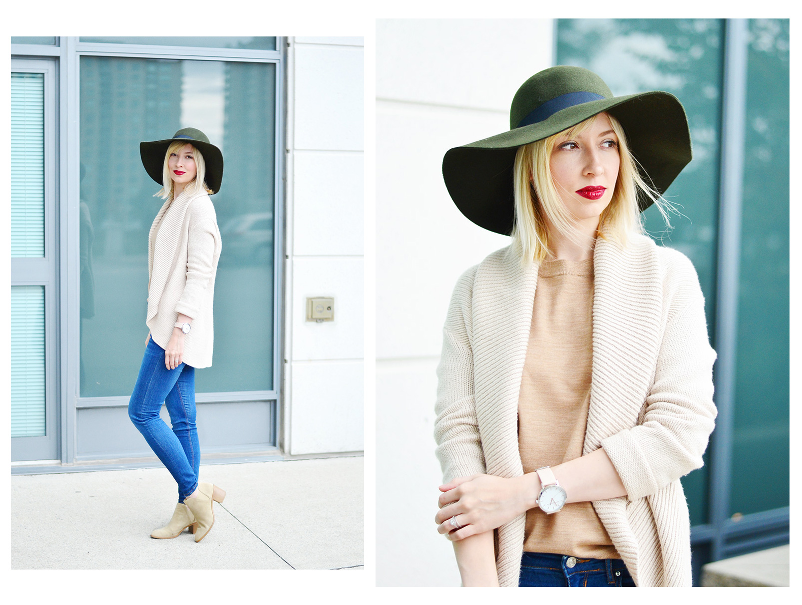 wool hat & knitted cardigan style