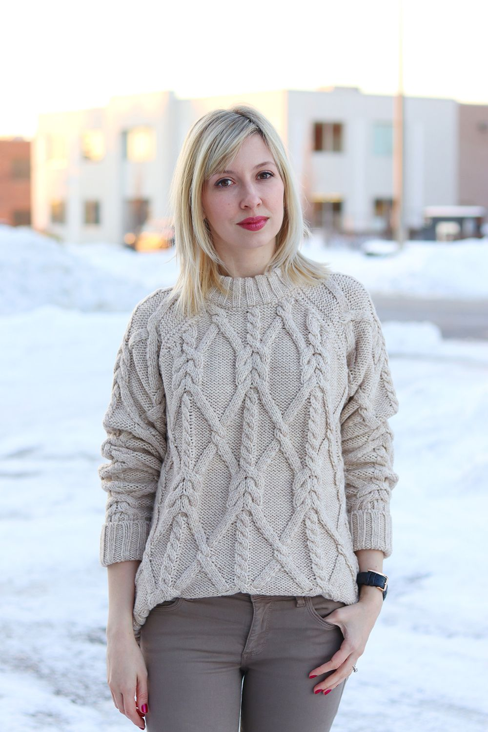 cable-knit oversized sweater