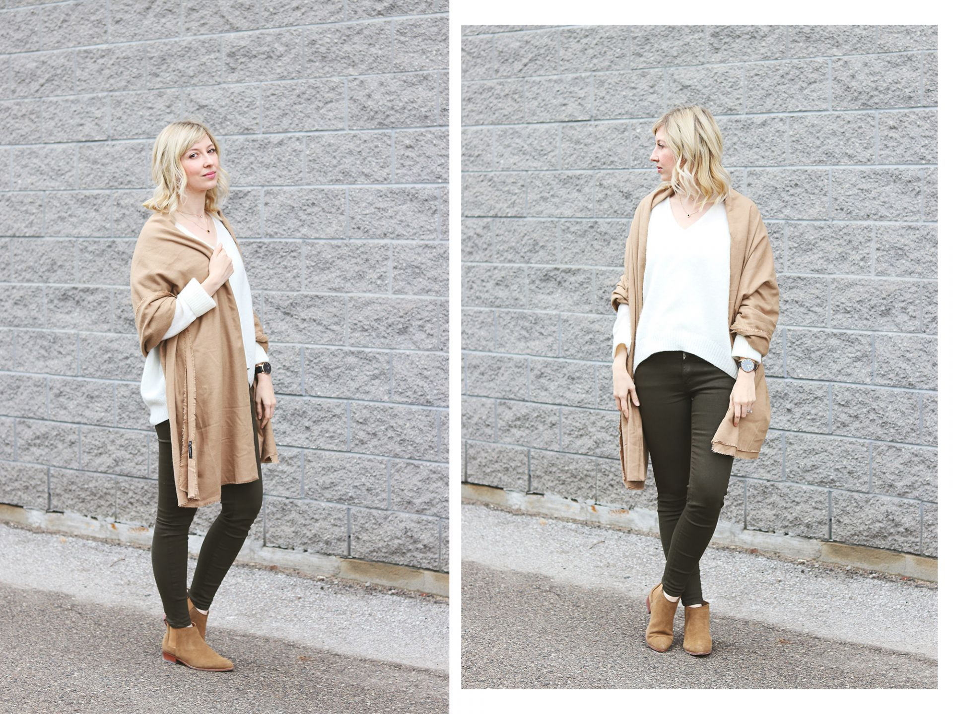 mohair sweater & beige scarf