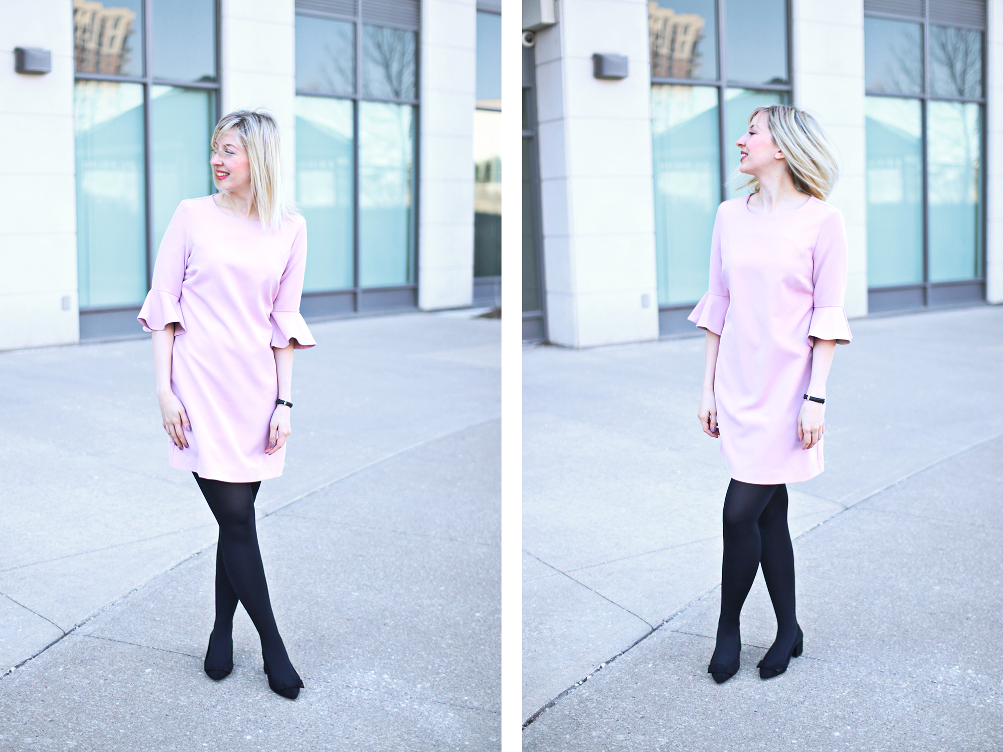 dusty rose frill dress