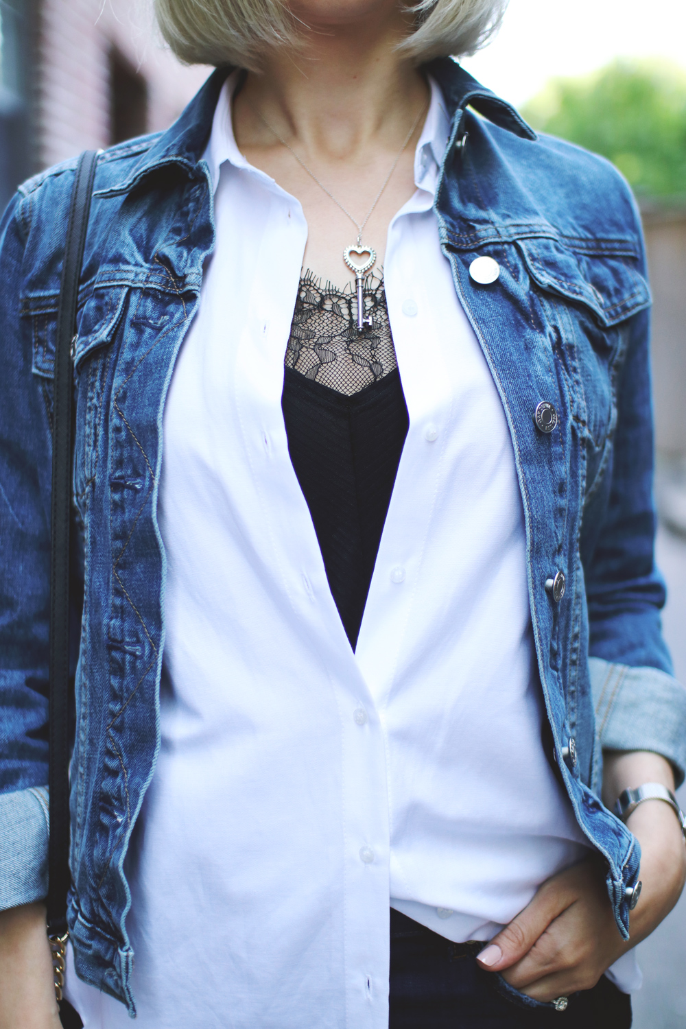denim jacket and lace cami