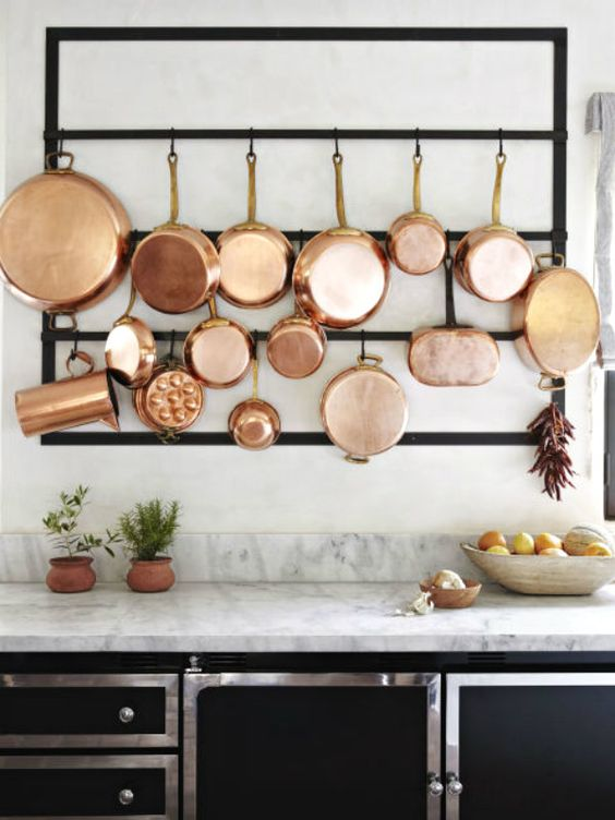 copper on kitchen cookware