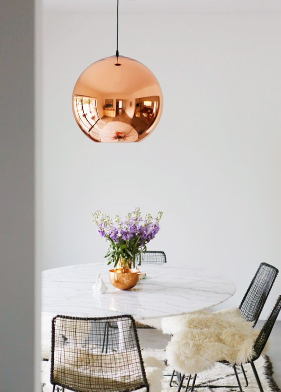 copper pendant on kitchen