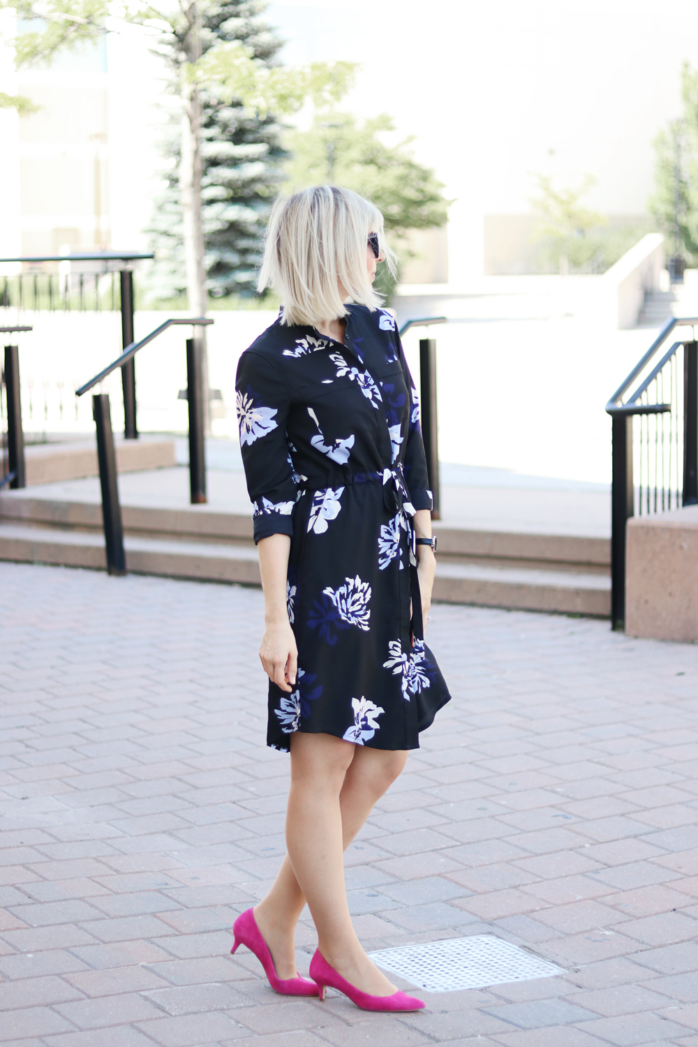flower print shirt dress