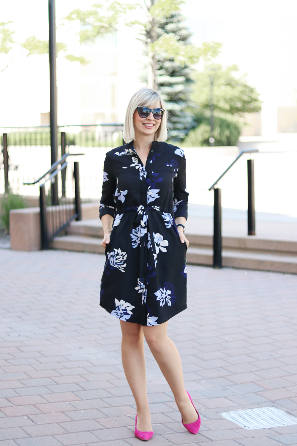 banana republic flower print shirt dress
