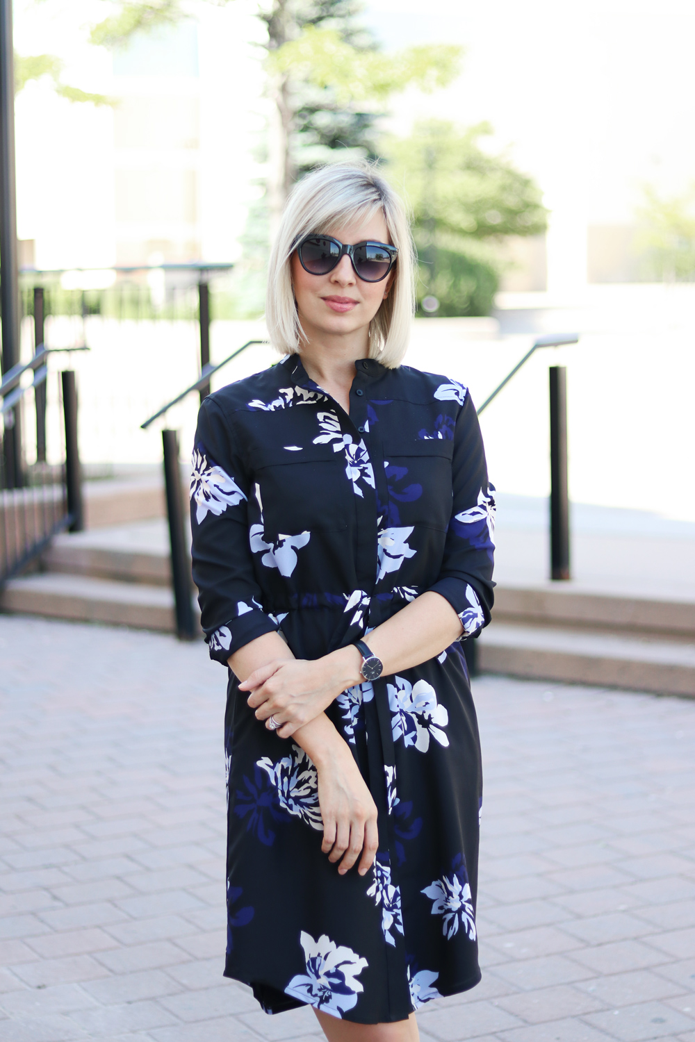summe flower print shirt dress