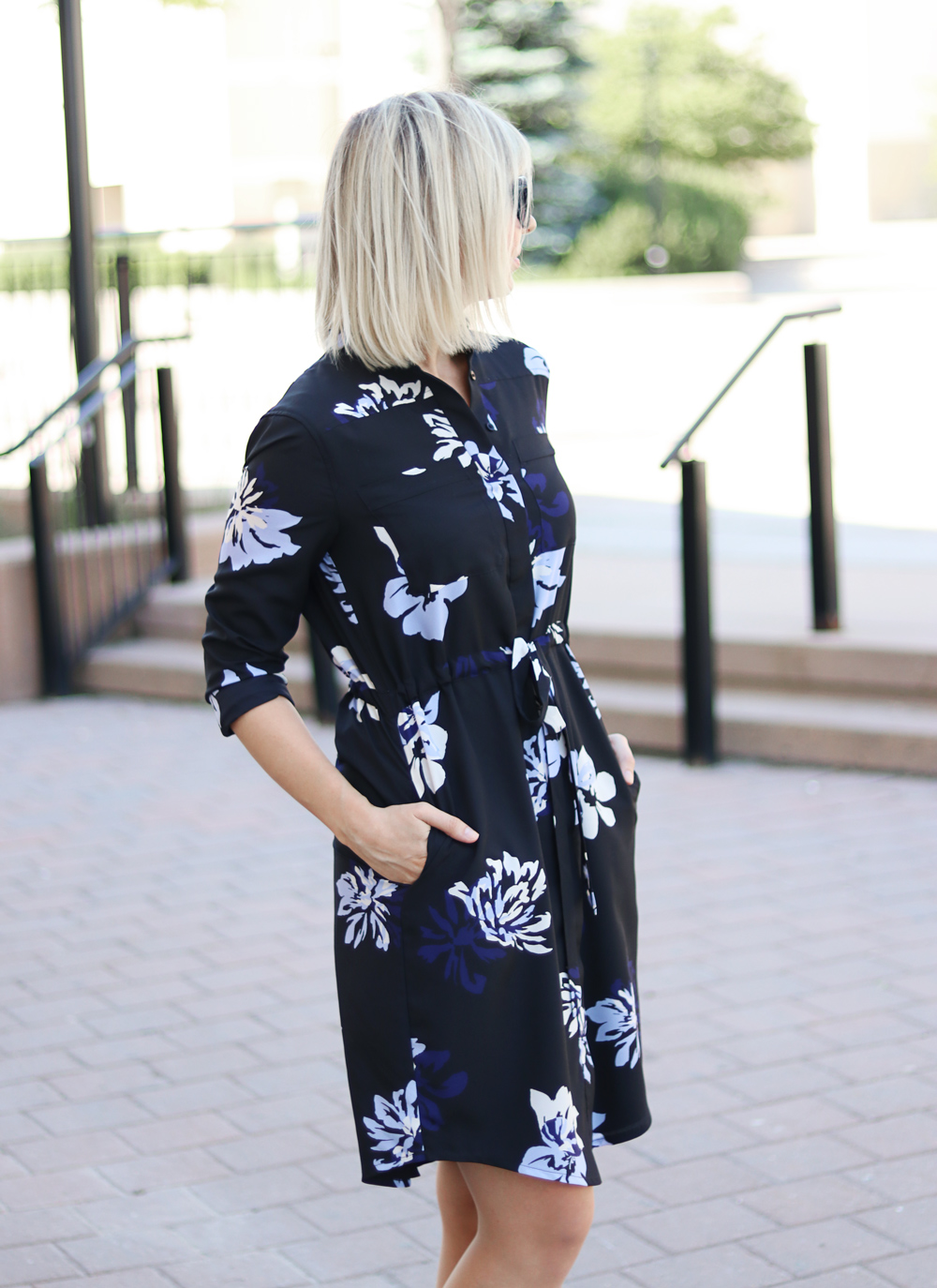 casual flower print shirt dress