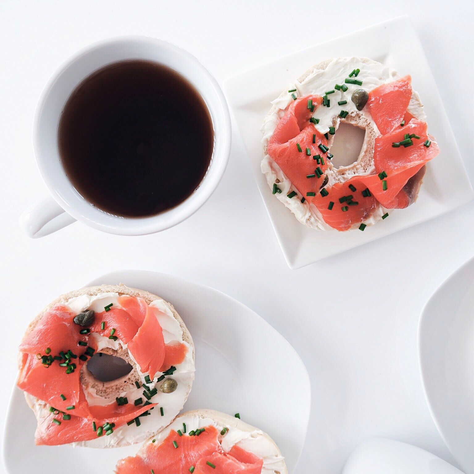 salmon and cream cheese bagel breakfast