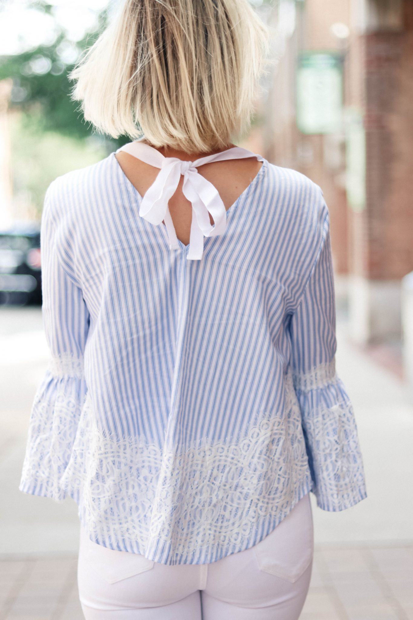 bow top with bell sleeves zara