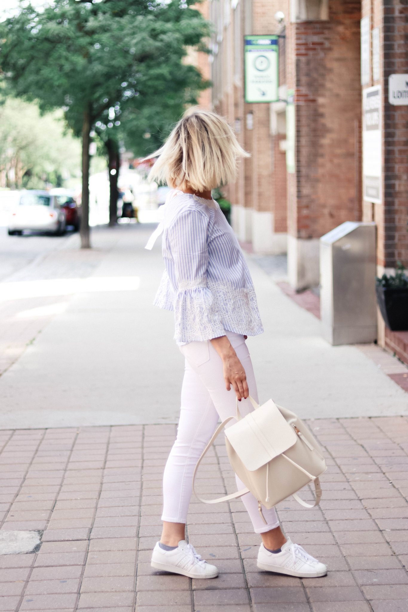 city stroll style with zara bell sleeved top