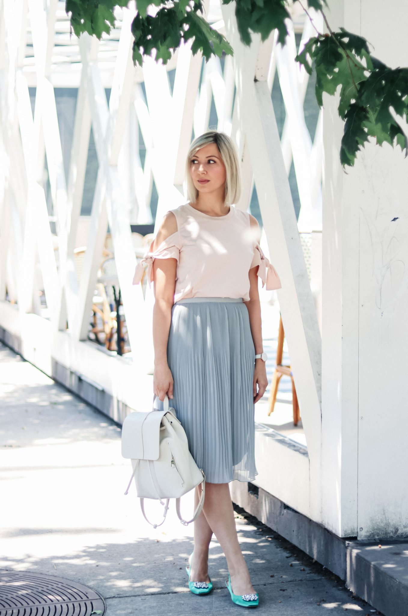 pleated skirt cold shoulder top summer style 1