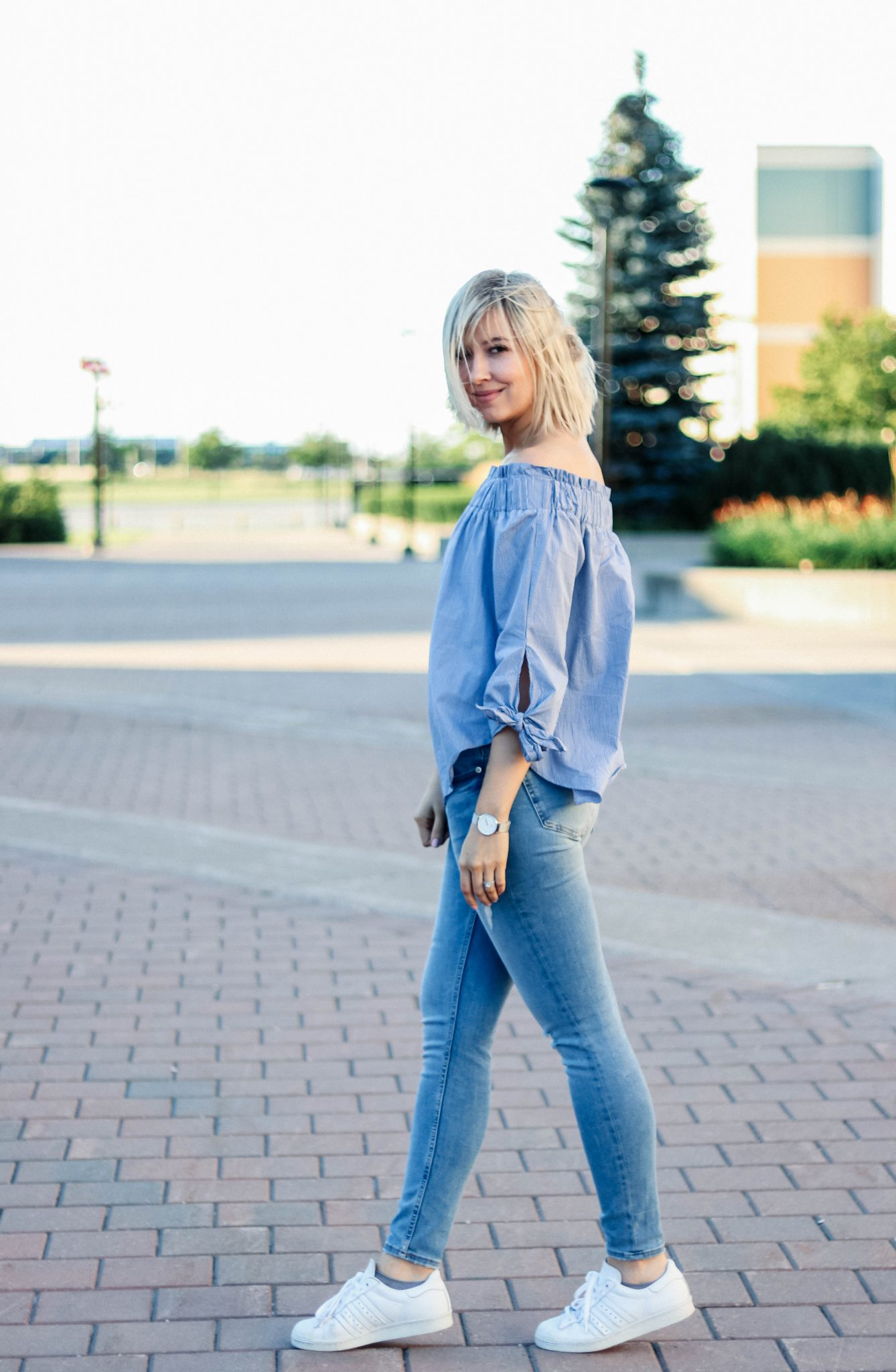 off shoulder top & denim 1