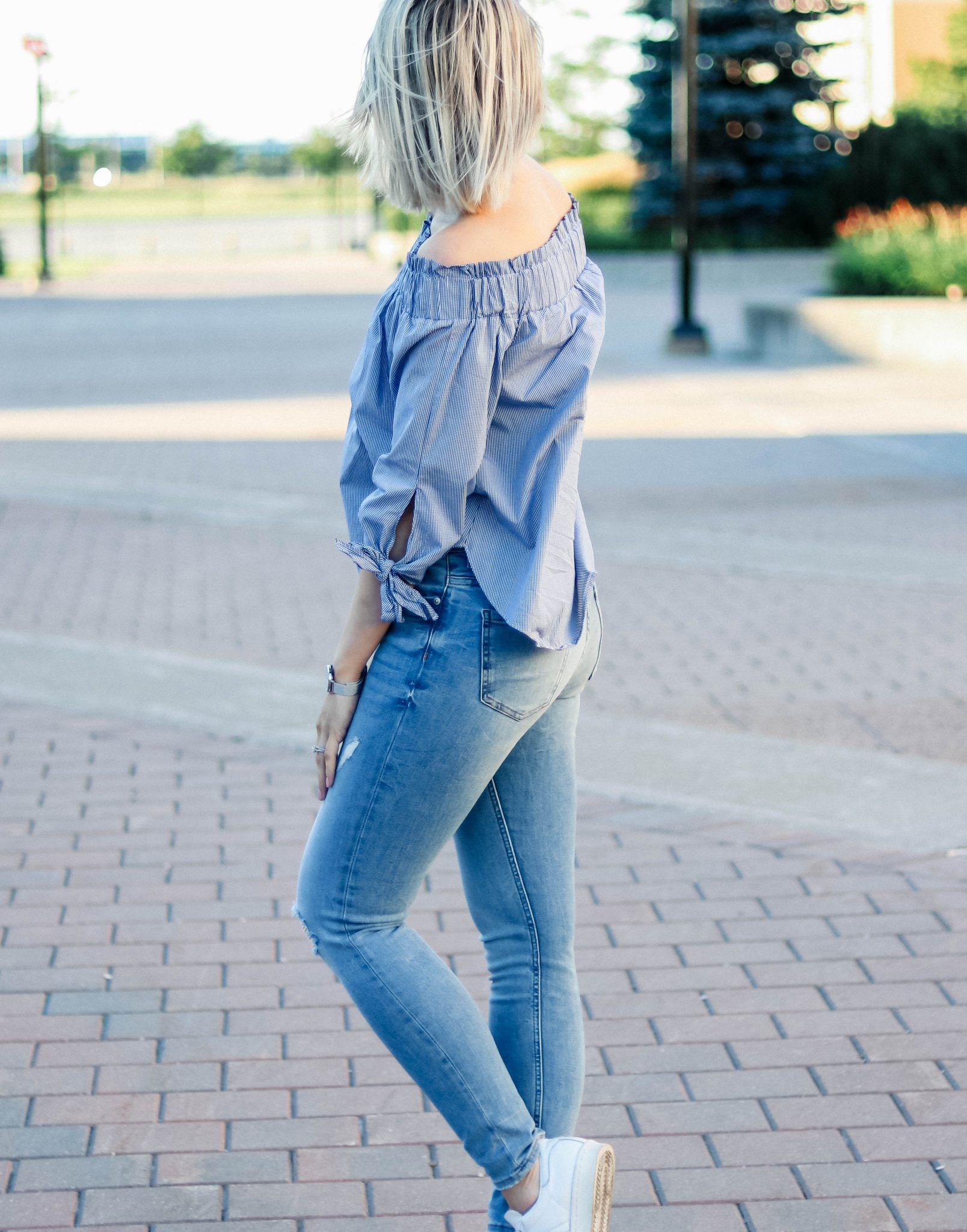 h&m off shoulder top & denim